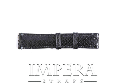 Genuine Black Python Skin Small Pattern Watch Strap Black Stitching