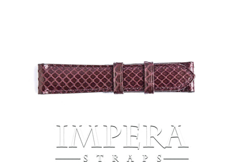 Genuine Burgundy Python Skin Small Pattern Watch Strap