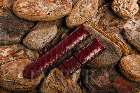 Genuine Burgundy Python Skin Medium Pattern Watch Strap