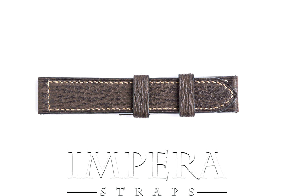Genuine Chocolate Brown Shark Leather Watch Strap