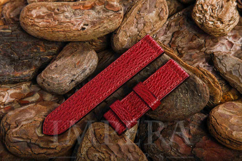 Genuine Cherry Red Shark Leather Watch Strap