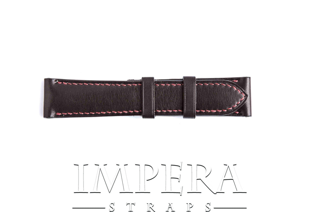 Vegetable Tanned Dark Brown Genuine Leather Watch Strap