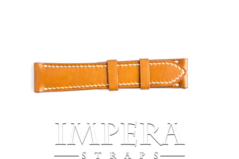 Vegetable Tanned Light Tobacco Brown Genuine Leather Watch Strap