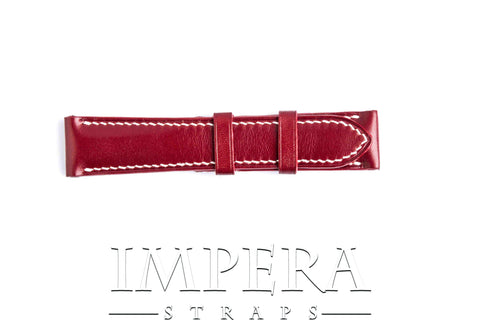 Vegetable Tanned Red Genuine Leather Watch Strap