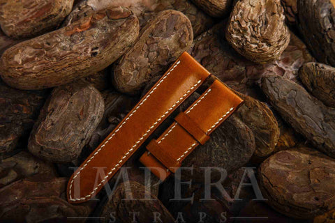Vegetable Tanned Tobacco Brown Genuine Leather Watch Strap