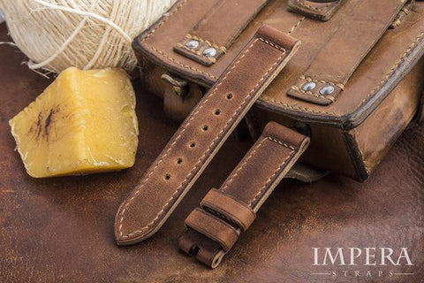 Hand Vintaged Naturally Aged Genuine Calf Leather Watch Strap