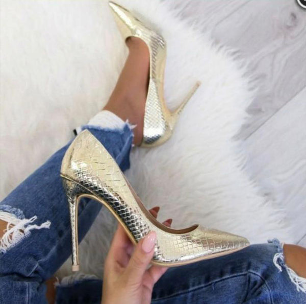 Meya Kroko Deri Stiletto Gold