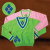 The New School Argyle Sweater (Pink and Green)