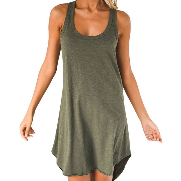 Women Sleeveless Loose Casual Solid Dress