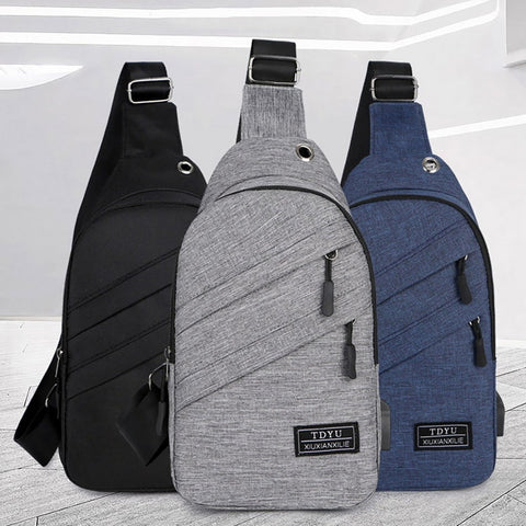 Men Waterproof  Bags Fashion Outdoor Male Crossbody Bag with  Interface Fashion Sports  Packs Anti-theft