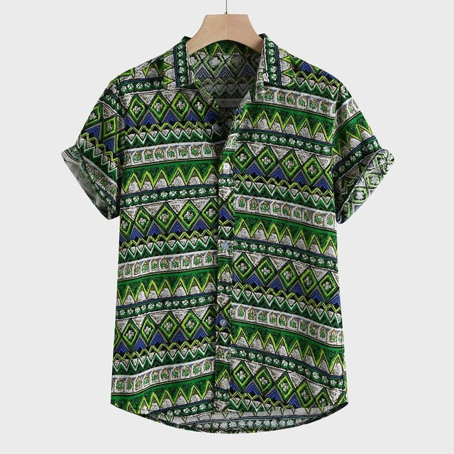 mens shirts long sleeve high quality Printed Hawaiian beachwear
