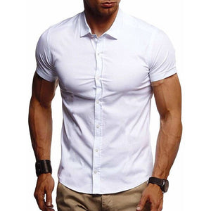 CYSINCOS 2020 New Men's Slim Fit Shirt Short