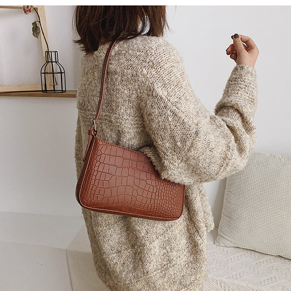 Fashion Crocodile Pattern Baguette bags MINI PU Leather Shoulder Bags For Women 2020 Chain Design Luxury Hand Bag Female Travel