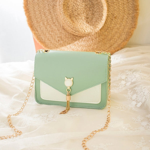 Ladies Korean version of the contrast color shoulder tassel small square bag 2020 fashion new cat crossbody bag