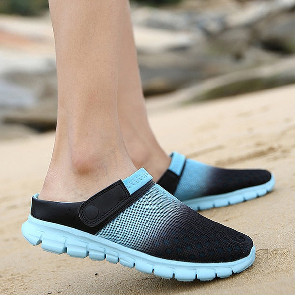 2020 Men Women Summer Sandal Mesh Breathable Padded Beach Flip Flops Shoes Solid Flat Bath Slippers