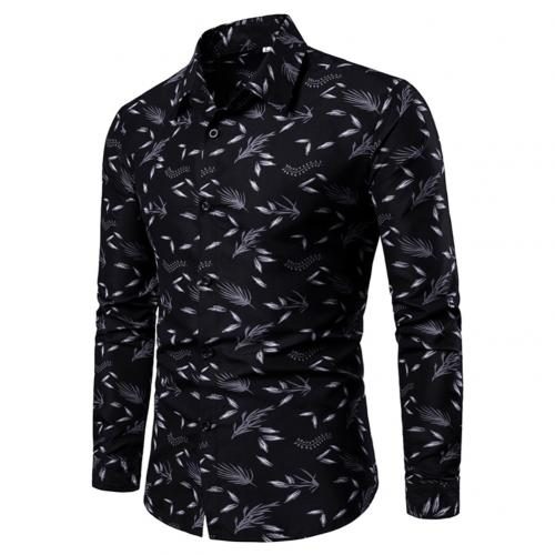 Casual Leaf Print Shirt Men Shirts