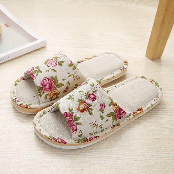 Women Home Slippers Indoor Floor Soft Couple Linen Slipper Spring Autumn Lightweight Unisex Bedroom Shoes Ladies Flax Flip Flops