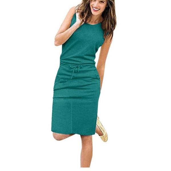 Women Causal Sleeveless Pockets Pencil Dress