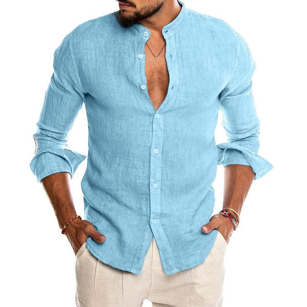 New Men's Casual Blouse Cotton Linen Shirt