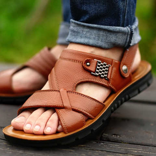 Big Size 48 Men Genuine Leather Sandals Summer Classic Men Shoes Slippers Soft Sandals Men Roman Comfortable Walking Footwear
