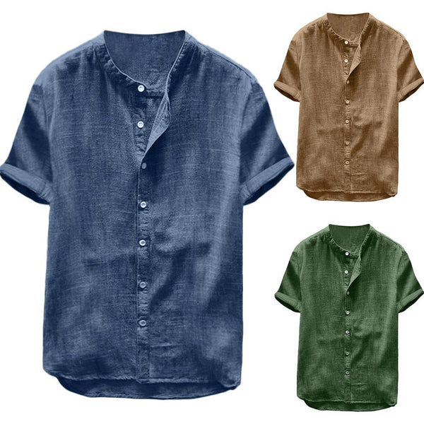 Summer Men Cotton Linen Blouse Casual Solid Color Short