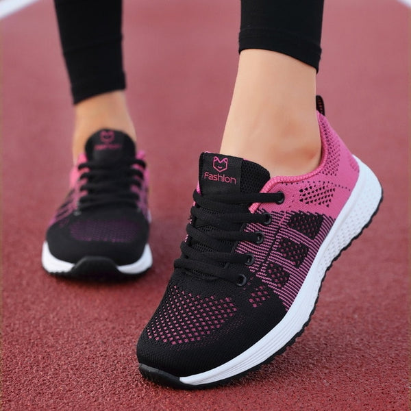 Women Casual Shoes Fashion Breathable Walking Mesh Lace Up Flat Shoes Sneakers Women 2020 Tenis Feminino Pink Black White