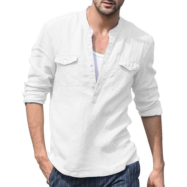Men's solid color cotton and linen shirts