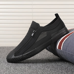 Men's Canvas Shoes Breathable Outdoor Casual Shoes Men Black Comfortable Slip-on Loafers Lazy Driving Shoes 2020 New
