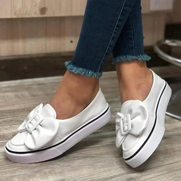 MCCKLE Flats Women Flock Bowknot Loafers Ladies Slip On Walking Shoes Woman Sneakers Plus Size 2020 Casual Female New Fashion