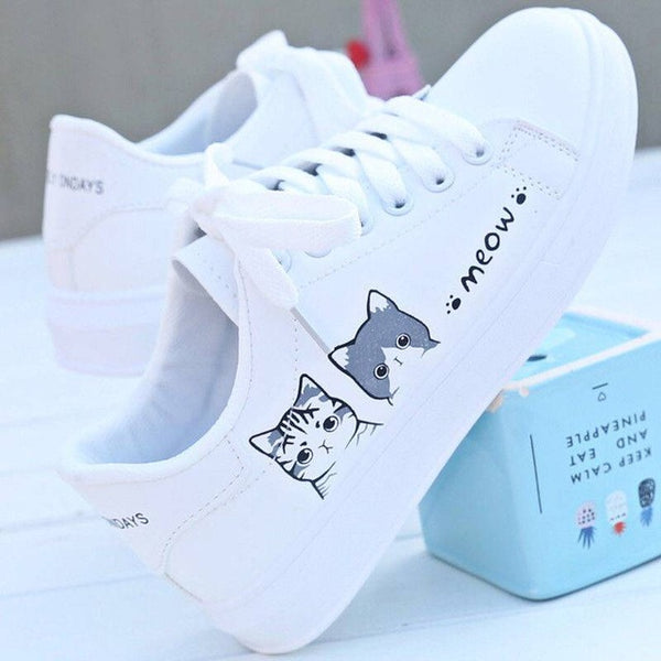 2020 New Arrival Fashion Lace-up Women Sneakers Women Casual Shoes Printed summer Women Pu Shoes Cute Cat Canvas Shoes
