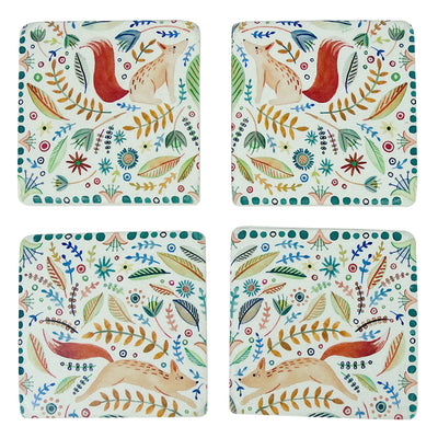 Floral Fox Coasters Set of 4