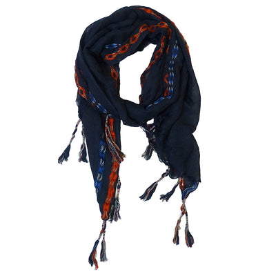 Scarf Embroidered Border navy