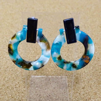 Greer Earrings Circle blue