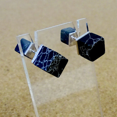 Nalia Earrings Studs black silver