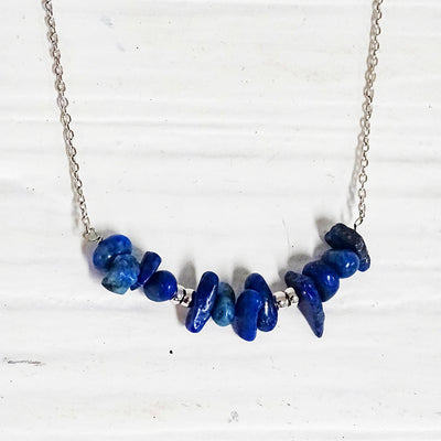 Willa Necklace lapis silver close up