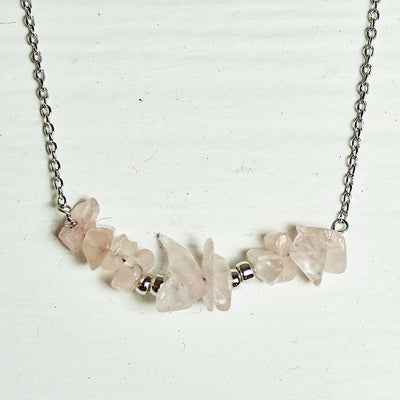 Willa Necklace rose silver close up