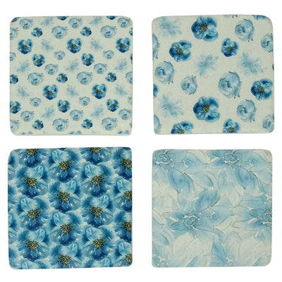 Blue Flowers Coasters Set of 4