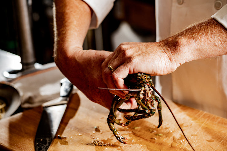 chef hands separating lobster body from lobster head