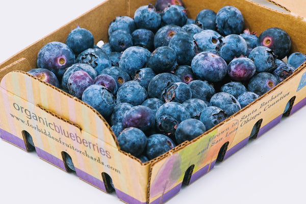 organic blueberries in a box