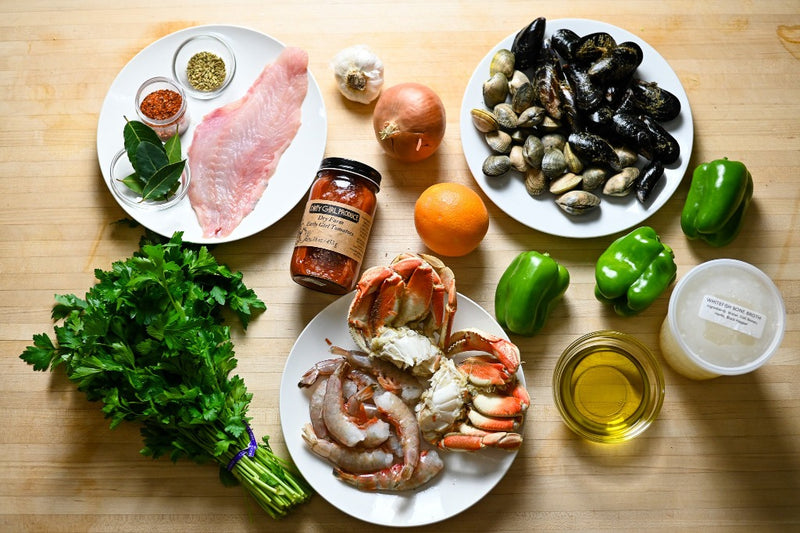 cioppino mise en place on the cutting board