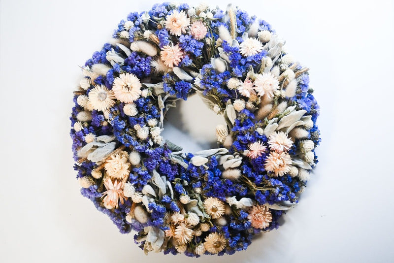 blue and pink dried floral wreath