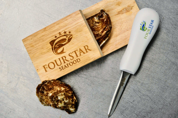 Oyster Shucking Set (Wooden Block & Knife)