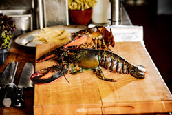 live maine lobster on a cutting block in the kitchen