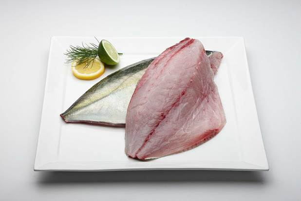 shima aji fillet on a plate