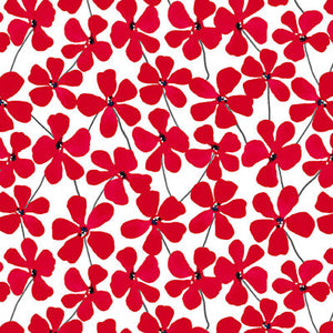 Red Alert - Floral Allover White - 1278-01 - Blank Quilting