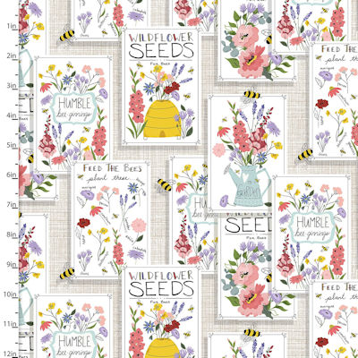 Feed the Bees - Seed packets - 17210-wht - 3 Wishes Fabrics