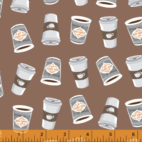 Coffee Shop  - Cups on Brown - 52263-4 - Windham