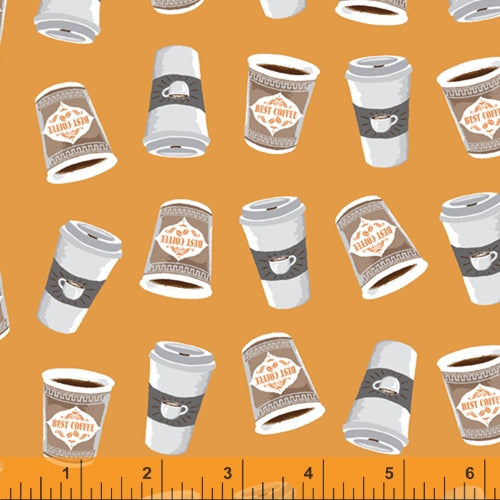 Coffee Shop  - Cups on Gold - 52263-5 - Windham