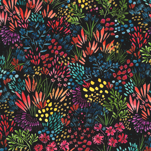 Moody Bloom 8444-12D Black - Moda Fabrics