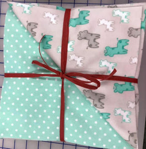 FLANNEL Raggy Throw Kit - Teal Giraffes